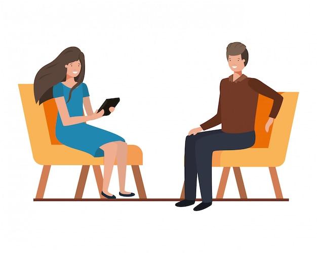 Echtpaar met zittend in een stoel