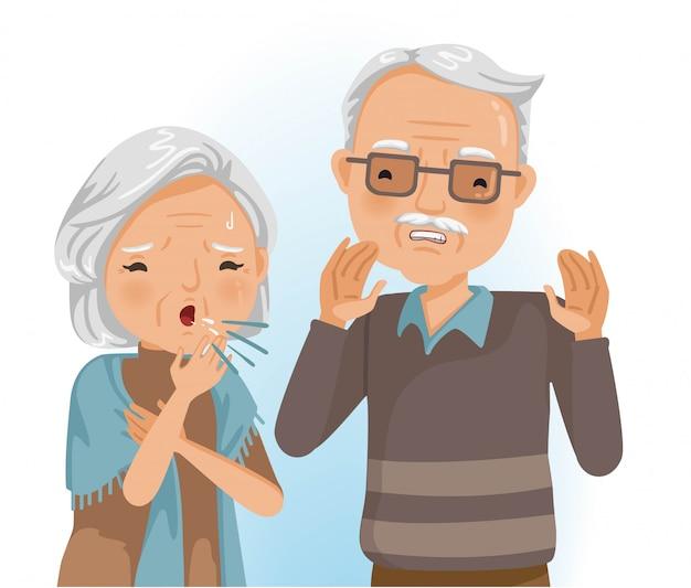 Echtpaar ouderen. oude vrouw die hoest dichtbij zijn vrouw. zieke vrouw hoesten met keelpijn.