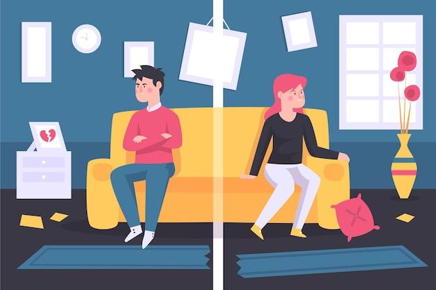 Echtscheiding concept geïllustreerd met mensen die elkaar distantiëren