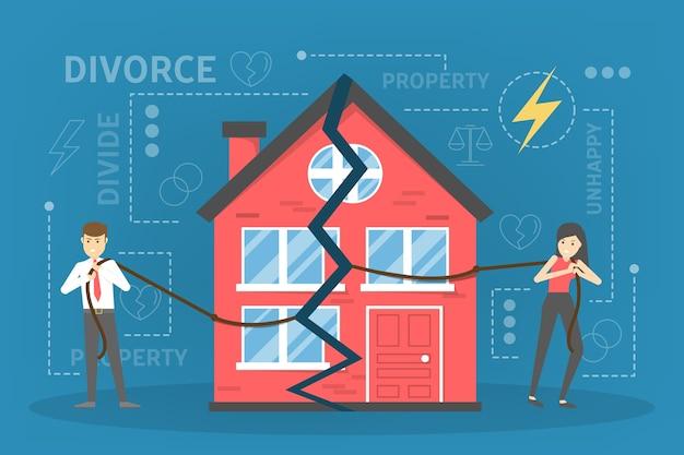 Echtscheiding concept. mensen gaan uit elkaar en doen eigendomsverdeling