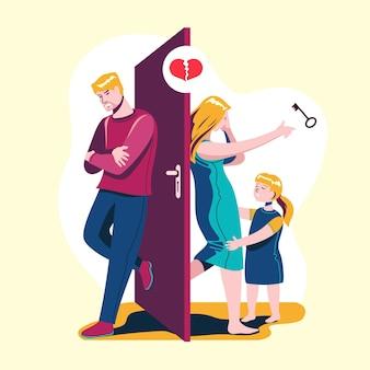 Echtscheiding illustratie concept