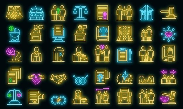 Echtscheiding pictogrammen instellen. overzicht set van echtscheiding vector iconen neon kleur op zwart Premium Vector