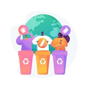 Eco-activisten sorteren afval. afvalscheiding. wegwerpsysteem. ecologische verantwoordelijkheid. afvalcontainers, vuilnisbakken, idee voor recycling.