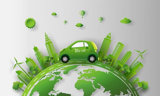 Eco-auto in de stad met sparen het aarde en energieconcept.
