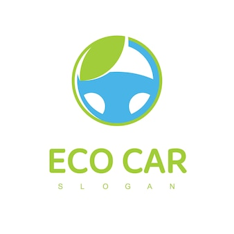 Eco auto logo ontwerpsjabloon lage emissie auto-logo met groen stuurwiel pictogram
