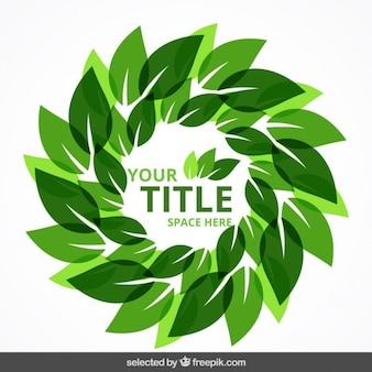 Eco badge gemaakt met bladeren