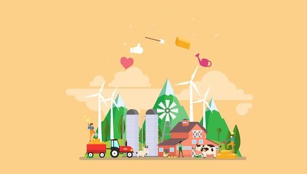 Eco biologische landbouw tiny people character