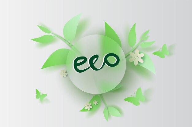 Eco-blad en bloemdecoratie de lente