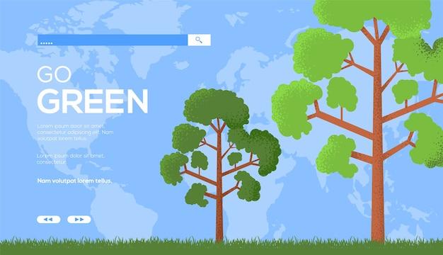 Eco-boom ui-koptekst, site invoeren, banner. ga voor groen