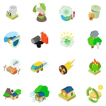 Eco catastrofale icon set