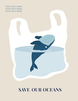 Eco concept poster met blauwe vinvis. milieubescherming.