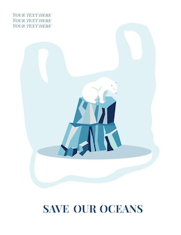 Eco concept poster met ijsbeer. milieubescherming.