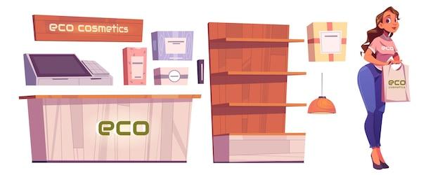 Eco cosmetica winkel meubilair en vrouw verkoper op wit
