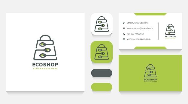 Eco en natuurlijke winkel logo sjabloon en visitekaartje