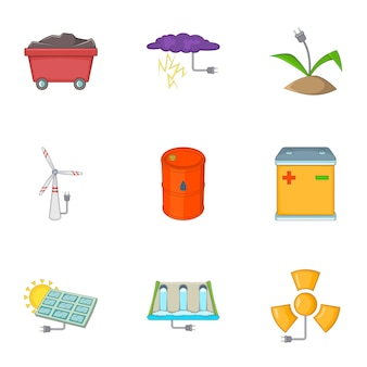 Eco-energie iconen set, cartoon stijl