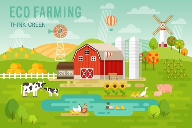 Eco farming-concept met huis- en boerderijdieren