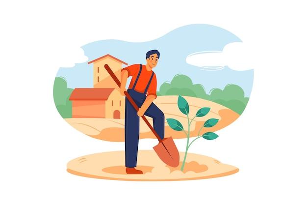 Eco farming illustratie concept