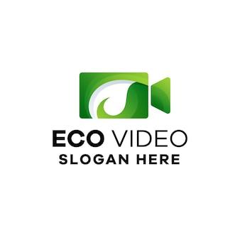 Eco film gradiënt logo sjabloon