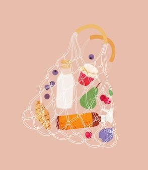 Eco friendly concept cotton nets boodschappentas met eten string shopper tas met winkelproducten