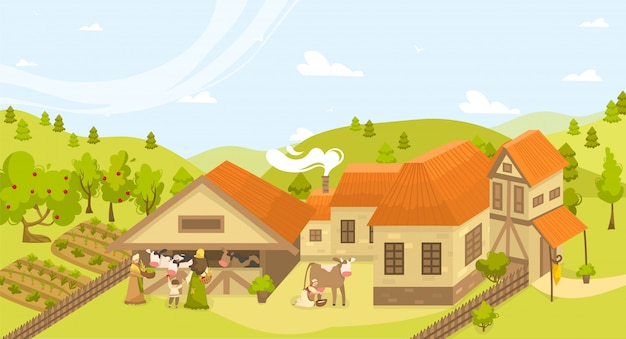 Eco gebouwen landbouw landbouw landschap illustratie met boerderij, koeien schuur, tuin, bedden van biologische groenten.