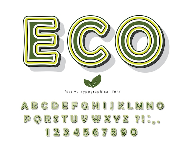 Eco groen lettertype. cartoon alfabet met letters en cijfers