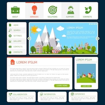 Eco groene energie natuur website ontwerp sjabloon met navigatie knoppen vector illustratie