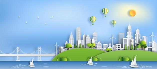 Eco groene stad, red de planeet en energieconcept