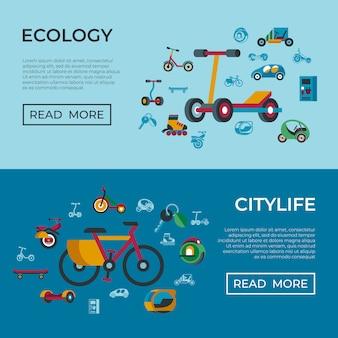 Eco groene vervoerstechnologie pictogrammen instellen