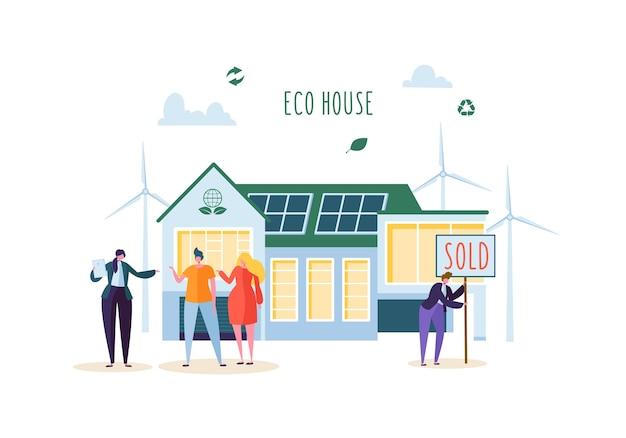 Eco house concept met gelukkige mensen kopen nieuw huis. makelaar in onroerend goed met klanten. ecologie groene energie, zonne- en windenergie.