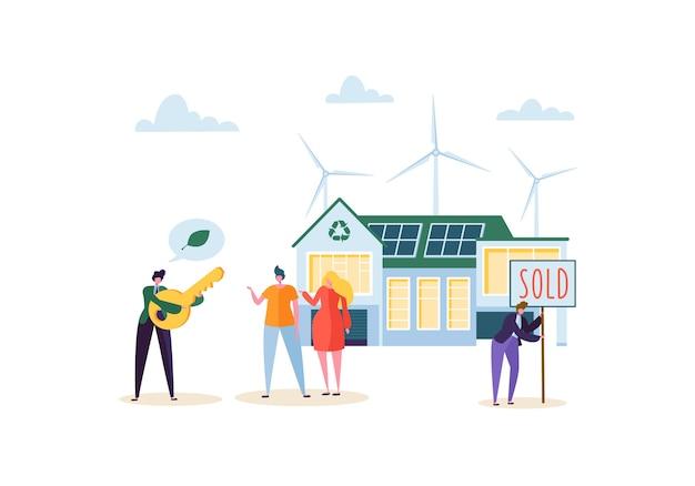 Eco house concept met gelukkige mensen kopen nieuw huis. makelaar in onroerend goed met klanten en sleutel. ecologie groene energie, zonne- en windenergie.