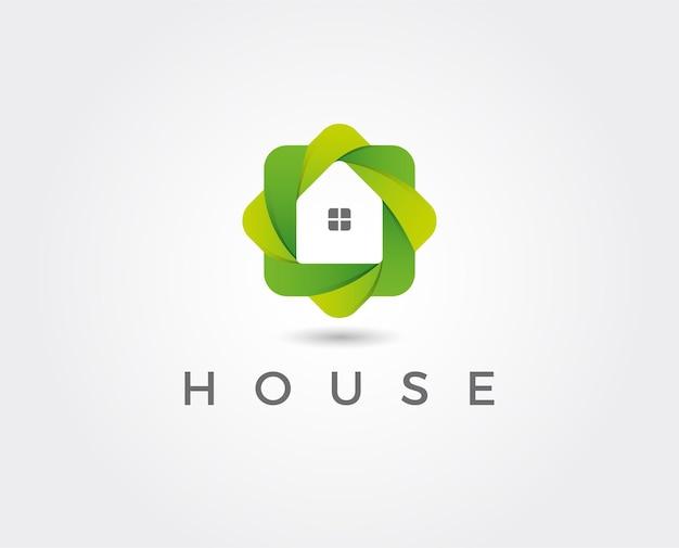Eco house logo abstract ontwerpsjabloon in zeshoekige vorm.