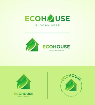 Eco house logo set
