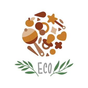 Eco houten babyspeelgoed met eucalyptusbladeren