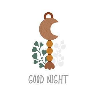 Eco houten speelgoed nachtlamp maan met eucalyptusbladeren