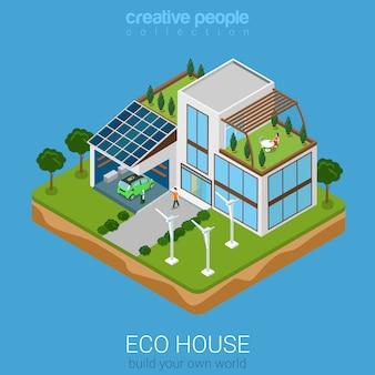 Eco-huis plat isometrische stijl illustratie concept platte wereld collectie