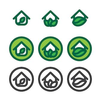 Eco huis sjablonen instellen. ecologie symbool. natuurlogotype. groen logo.