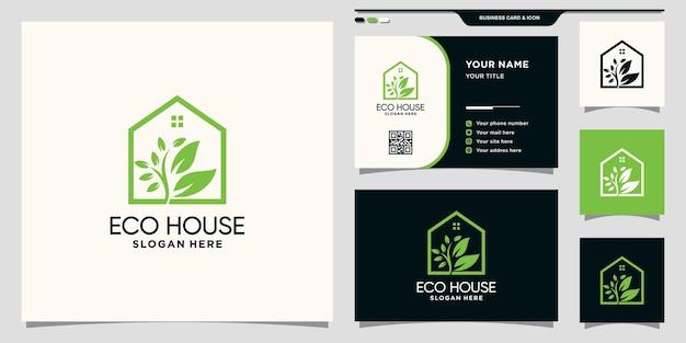 Eco-huislogo met lijnstijl en visitekaartjeontwerp premium vector