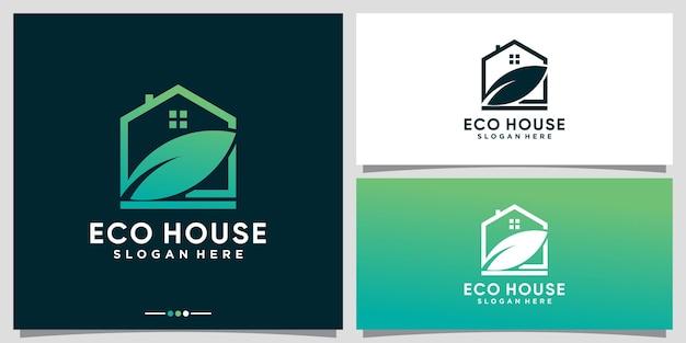 Eco-huislogo-ontwerpinspiratie met blad- en lijnkunststijl premium vector