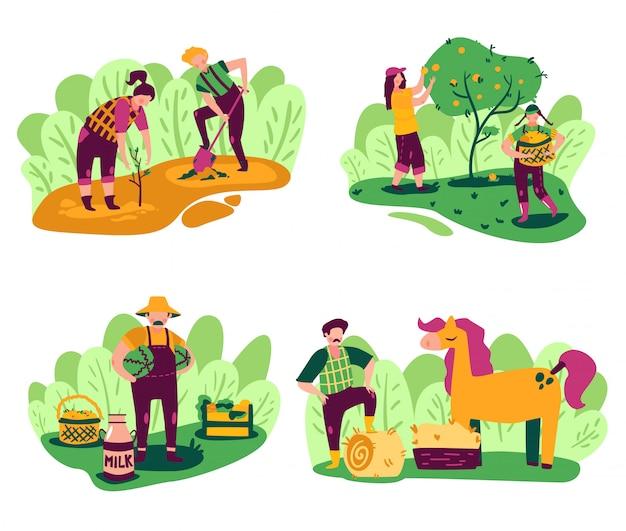Eco landbouw composities instellen met buiten landschap en werkende mensen personages met binnenlandse producten en planten vector illustratie