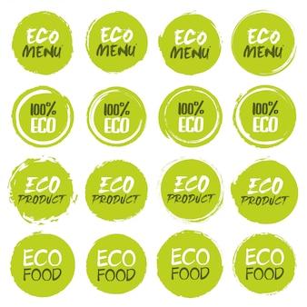 Eco-logo collectie. set van verschillende grunge cirkels vormen label met verschillende tekst