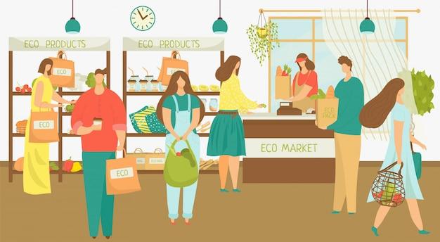 Eco-markt voor mensen kopen biologisch voedsel, plantaardige illustratie. vrouw man karakter in winkel, koper in retail supermarkt. winkelen verkoop in kruidenier, klant kiest natuurlijk fruit.