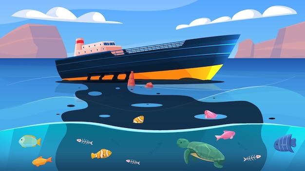 Eco-ongeluk met olieramp op tanker drijvend in oceaan, platte gekleurde compositieillustratie