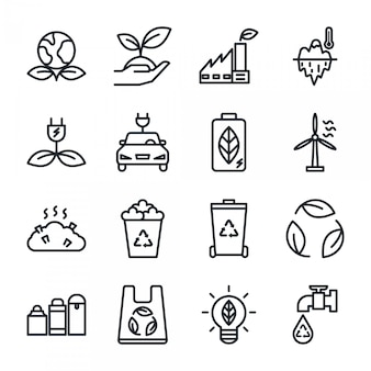 Eco overzicht icon set, energie recycling pictogram