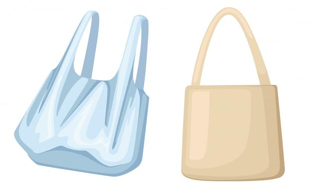 Eco-papier en plastic zakken. ecologie vervuiling probleem. illustratie op witte achtergrond