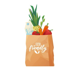 Eco papieren boodschappentas met eten