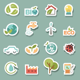 Eco-pictogrammen instellen vector