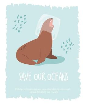 Eco poster met zeeleeuw in een plastic zak. stop plasticvervuiling. bespaar oceanen concept. vector milieu banner