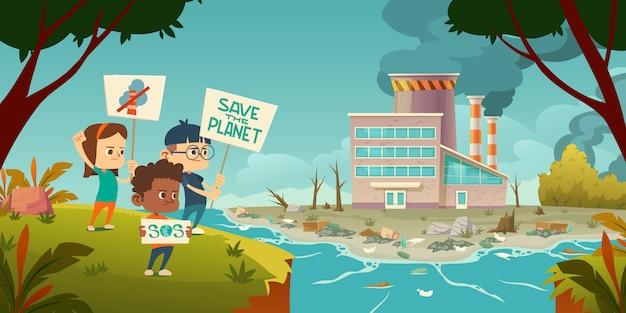 Eco-protest, kinderen met veilige staking van de planeet