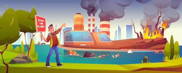 Eco-protest, man met veilige planeetbanner staking tegen ecologie en natuurvervuiling in de fabriek
