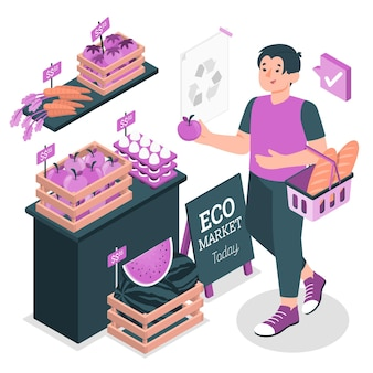 Eco shopping concept illustratie